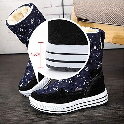 XMJM Impermeabile Snow Boots delle Donne, Inverno Pinguino Stampato in Velcro Mid Tubo Cotone Boots, Antiscivolo da Donna Stivali Outdoor Trekking,Nero,41