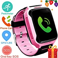 Kids Smartwatch with GPS Tracker,Game Smart Watch for Boys Girls Phone Watch Camera SOS Activity Tracker Anti Lost Alarm Clock App Parents Control with Android iPhone,Summer Birthday Gift