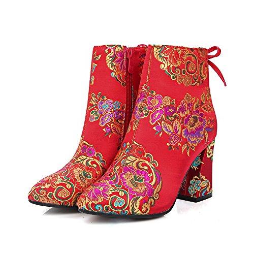 AllhqFashion Damen Gemischte Farbe Reißverschluss Spitz Zehe Hoher Absatz Stiefel mit Metallisch Rot