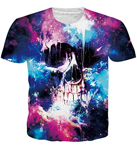 Unisex Novelty Spotswear Clothes Loose Fit Crew Neck Skull T-Shirts 3D Realistic Printed Galaxy Space Colorful Graffiti Graphic Shirts Autumn Casual Tops Retro Tees 80s 90s Clothing for Mens Womens L