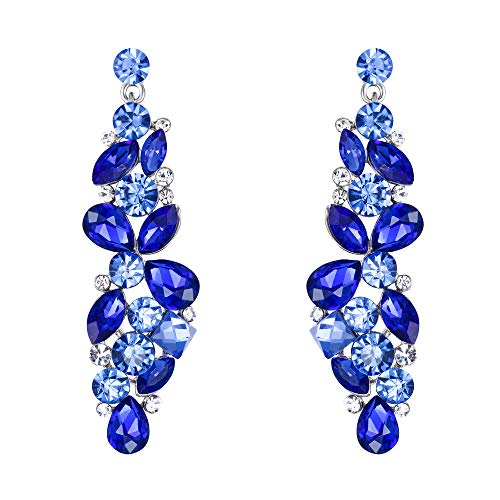 EVER FAITH Rhinestone Crystal Bridal Tear Drop Marquise Flower Cluster Dangle Earrings Blue Silver-Tone
