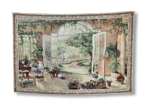 Things2Die4 French Doors Garden View Tapestry Wall Hanging