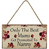 Sitting easter bunny easter gifts amazon kitchen home mothers day gift wall plaque sign only the best mums get promoted to nanny handmade wooden negle Gallery
