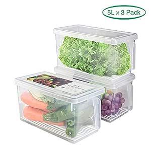 Juego de 3 recipientes de almacenamiento de alimentos, organizador ...