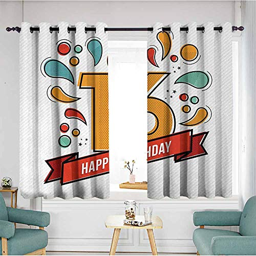 - duommhome 16th Birthday Decorative CurtainsforLivingRoom Festive New Age Modern Party Invitation Funky Teenage Typography Artwork Privacy Protection 55