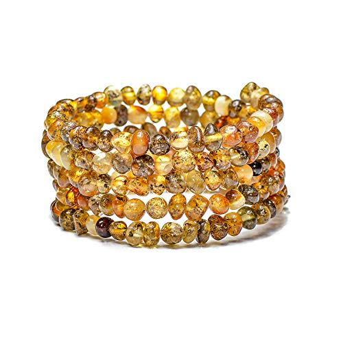Genuine Baltic Amber Bracelet for Women - Made on Memory Wire - Handmade Natural Amber Beads Jewelry for Adult ()