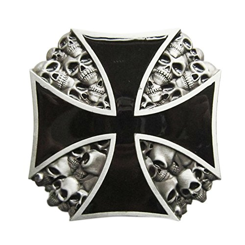 [New Classic Heavy Metal Skull Cross Vintage Belt Buckle Gurtelschnalle] (Metal Classic Belt)