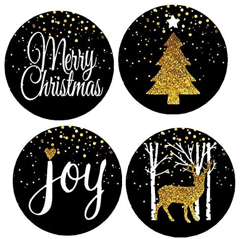 48pack Black Merry Christmas Joy Deer Tree Assortment Stickers Labels Envelope Decorative Seals -1.5inch ()