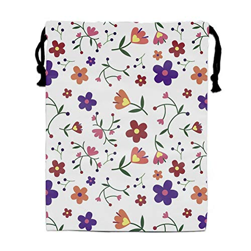 Party Favors Supplies Bags for Girls, 1 Pack Kids Drawstring Bag Amazing Flower