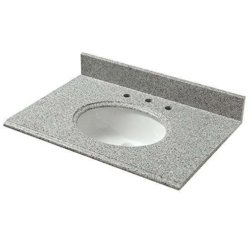 Pegasus Sink Accessories - Pegasus PE37603 37-Inch Napoli Granite Vanity Top with White Bowl and 8-Inch Spread