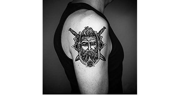 Tatuaje Temporal de Cabeza vikinga (2 Piezas) - www.ohmytat.com ...