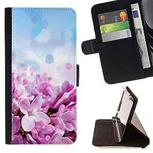 Devil Case- Estilo PU billetera de cuero del soporte del tir¨®n [solapa de cierre] Cubierta FOR Samsung Galaxy G360 G3608 G3606- Purple flowers flower