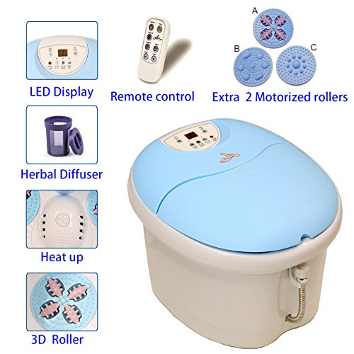LLETT All in one foot spa bath massager with 2 Extra Rollers, Heat, O2 bubbles, digital time and temperature control LED display LL-7216