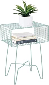 mDesign Modern Farmhouse Side/End Table - Metal Grid Design - Open Storage Shelf Basket, Hairpin Legs - Vintage, Rustic, Industrial Home Decor Accent Furniture for Living Room, Bedroom - Mint Green