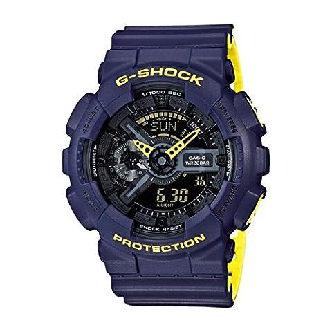 Men's Casio G-Shock Anti-Magnetic Navy Blue and Neon Yellow Resin Watch GA110LN-2A (Blue G Shock Men)