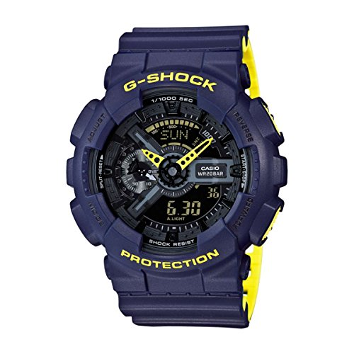 Men's Casio G-Shock Anti-Magnetic Navy Blue and Neon Yellow Resin Watch (Blue G-shock Watch)
