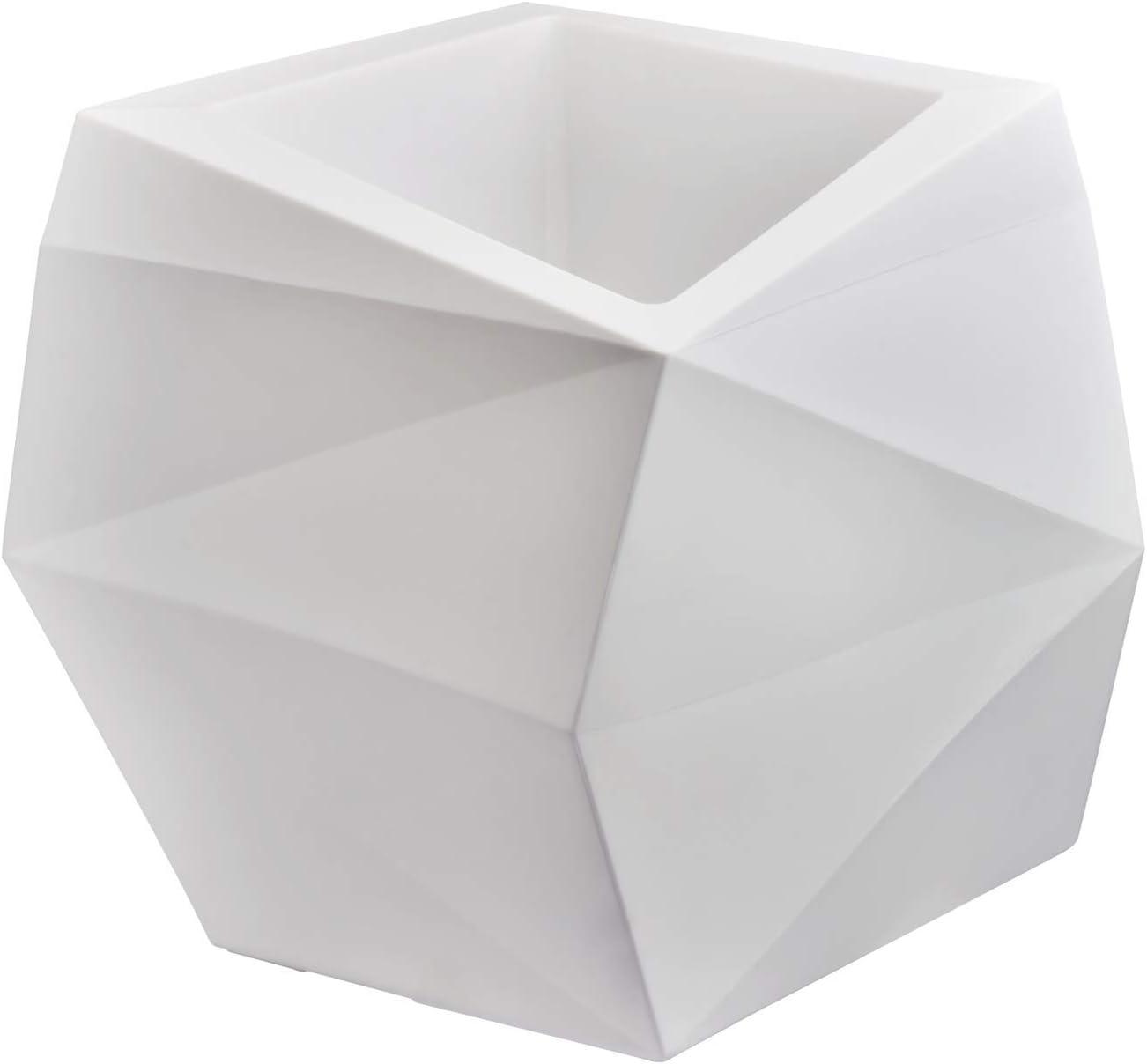 Crescent Garden Modern Geometric Origami Planter, Plant Pot, 26-Inch (Alpine White)