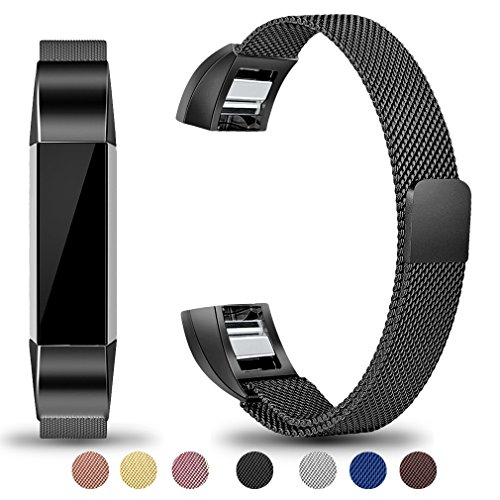 Maledan Metal Bands Compatible with Fitbit Alta and Alta HR, Stainless Steel Milanese Loop Replacement Accessories Bracelet Strap with Unique Magnet Lock for Fitbit Alta/Alta HR, Black, Large