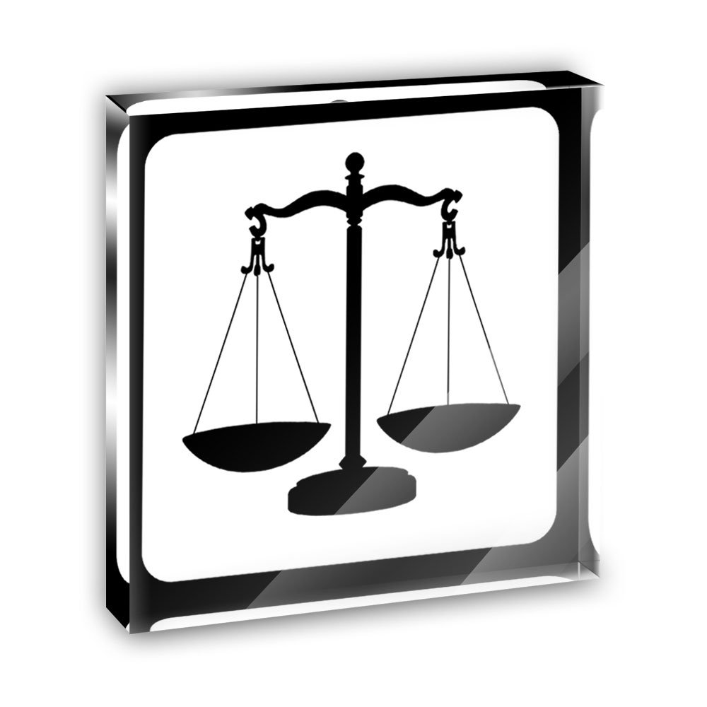 Scales of Justice Acrylic Office Mini Desk Plaque Ornament Paperweight