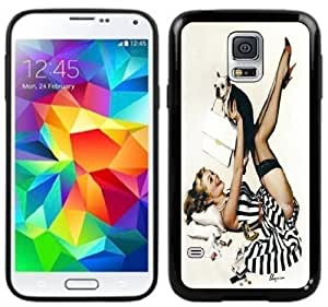 Pin-Up Girl Vintage Handmade Samsung Galaxy S5 Black Case hjbrhga1544