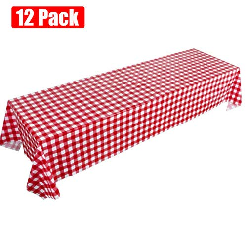 Picnic Tablecloth, Red Gingham Checkered Disposable Table Covers, 12 Pack Plastic Table Cloths for Cowboy Western Italian Camping Barn Yard Birthday Farm Party (12 Pack Red -
