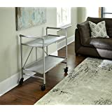 Indoor or Outdoor Folding, Metal, Rolling Serving Cart, Silver