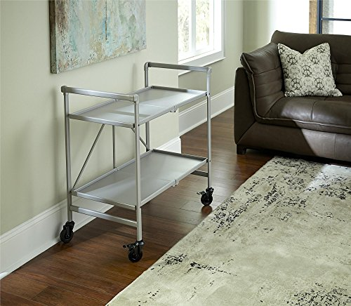 Cosco Outdoor Living 87602SVR1E Indoor/Outdoor Folding Serving Cart, Silver