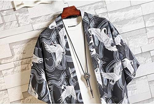 [ベラバント]ロングカーディガン メンズ 半袖 サマー 薄手 前開き 麻 和式パーカー 七分袖 鶴柄 おしゃれ ファッション カジュアル 夏服