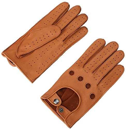 Mens Smart Soft and Luxury Genuine Deerskin Leather Driving Gloves 3 ()