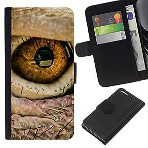 Apple iPhone 5C , la tarjeta de Crédito Slots PU Funda de cuero Monedero caso cubierta de piel ( Eye Bird Intense Macro Photo Fire)
