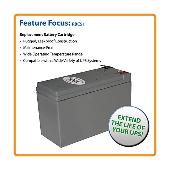 Tripp Lite RBC51 Replacement Battery Cartridge for Select Tripp Lite and Other Major UPS Brands 2 12-volt UPS replacement battery cartridge Compatible with a variety of UPS brands Restores or enhances runtimes of all UPS systems exhibiting reduced power failure runtime