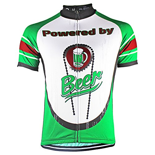 HIRBGOD Mens Short Sleeve Cycling Jerseys Beer Printed Bike Biking Shirts,HK129 (XX-Large(Chest 45.66'')) - Beer Short Sleeve Cycling Jersey