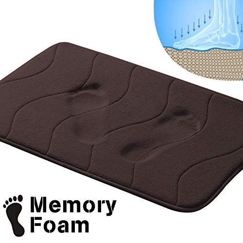 Memory Foam Bath Mats Non-Slip Bathroom Rugs Water Absorbent Fast Dry Soft Comfortable Stylish (Brown, Waved Pattern, Size: W17 x ()