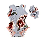 Anbaby Baby Girls Cute Romper Bodysuit Clothes (0-6Months, Gray)