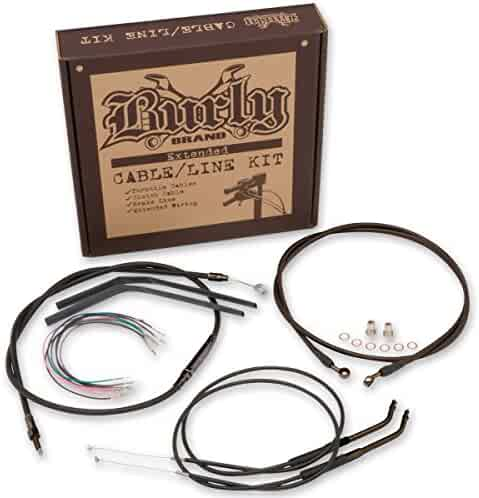 Burly Brand Black 16/&Prime Ape Hanger Cable//Brake//Wiring Kit B30-1047