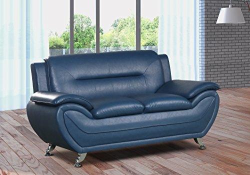 U.S. Livings Anya Modern Living Room Polyurethane Leather Sofa Set (Sofa and Loveseat, Blue)