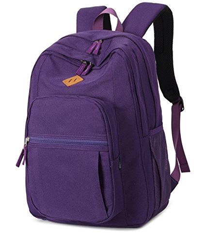 Abshoo Girls Solid Color Backpack For College Women Water Resistant School Bag (Purple)