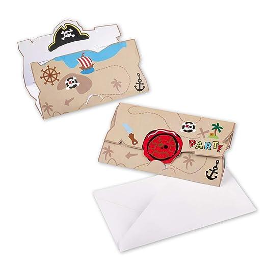 8 coloridas invitaciones con sobre motivo pirata | Aprox. 14 ...