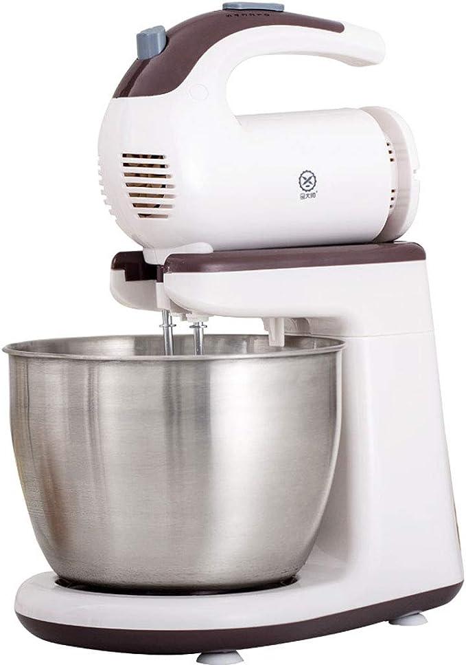 Batidora 2 en 1 con cubeta de 3 litros, batidora de mano para cocina Bestias de acero inoxidable, ganchos para masa, ajustes de 5 velocidades Botón de eyección 300W: Amazon.es: Hogar