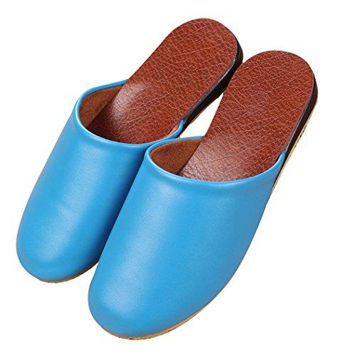 Cattior Femmes Confortables Intérieur Dames En Plein Air Cuir Pantoufles Maison Chaussures Bleu