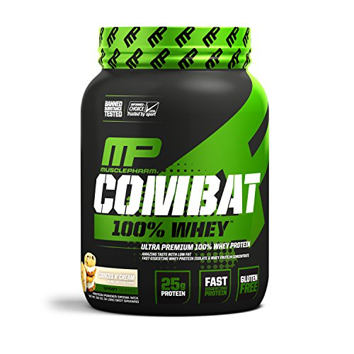 MusclePharm Combat 100% Whey – 25Gs of a Ultra-Premium, Gluten-Free, Low Fat Blend of Fast-Digesting Whey Protein for Performance, Recovery, and MuscleBuilding, Cookies 'N' Cream, 2 Pound, 28 Servings - Protein 2 Lb Cookies