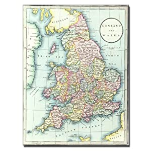 Amazoncom Trademark Fine Art Map of England and Wales 1852 by