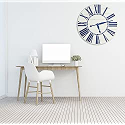BrandtWorks, LLC Navy Nautical Oversized Wall Farmhouse Clock, 24 X 24, Antique White/Blue