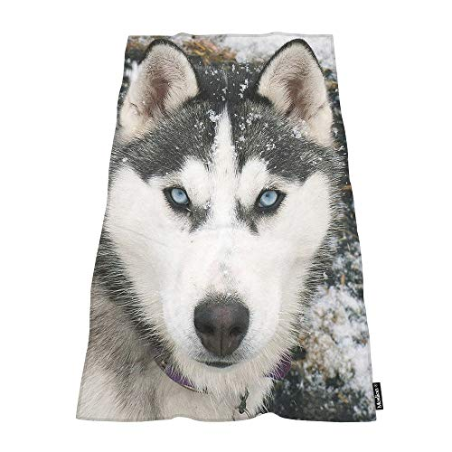 Moslion Soft Bath Towels Siberian Husky Dog in The Snow Comfy Bathing/Beach/Camping Towel for Women Men Girls Boys Large Size 64x32 Inches (Snow Siberian Husky)