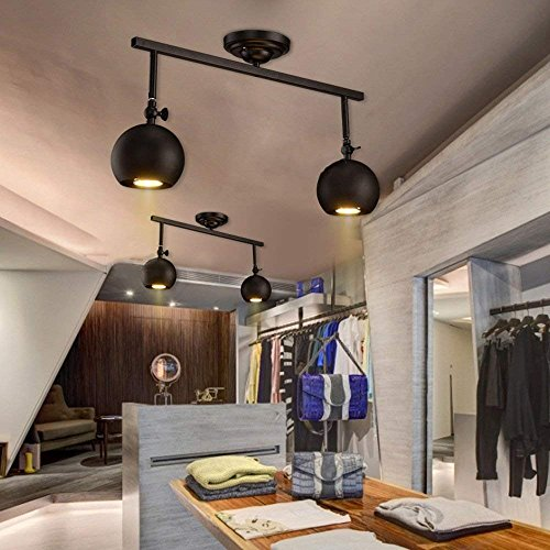 Wisdom Chandeliers Black Iron Ceiling Spotlights Industrial Retro Bar Desk Track Lights Personalized Clothing Store Tv Wall Mounted Long Pole Spotlights,Excluding Bulbs, 2-Lights