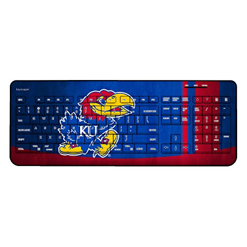 Kansas Jayhawks Keyscaper Wired Keyboard officially licensed by the University of Kansas Full Size Low Profile Direct Print Plug & Play by (Kansas University Desk)