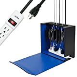 G.U.S. Cord Corral and Cable Organizer with 6-Magnetically Secured Cord Spindles and a 6-Outlet Power Strip - ''City Pop'' Collection, Made of MDF and Black Leatherette