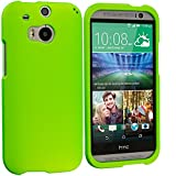 Cell Accessories For Less (TM) Neon Green Hard Rubberized Case Cover for HTC One M8 Bundle (Stylus & Micro Cleaning Cloth) - By TheTargetBuys