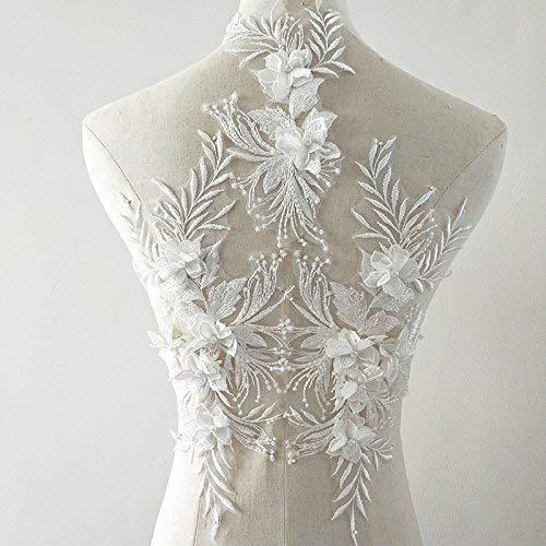 Parche de apliques de encaje 3d Parches de flores motivos de apliques lentejuelas rosas apliques con cuentas de diamantes franceses Ideal para ...
