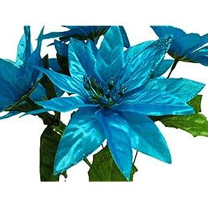 "4 Bushes Blue Turquoise Christmas Glitters Poinsettia Artificial Silk Flowers 12"" Bouquet 7-2209 TQ 69"